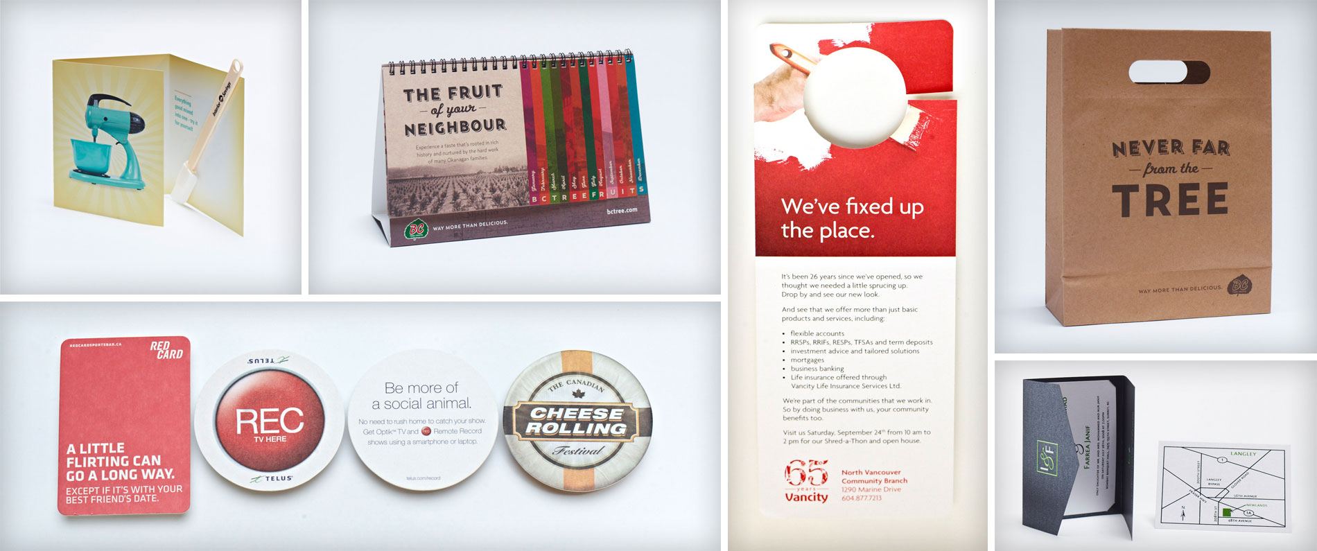 Cards, coasters, calendars, bags and business cards