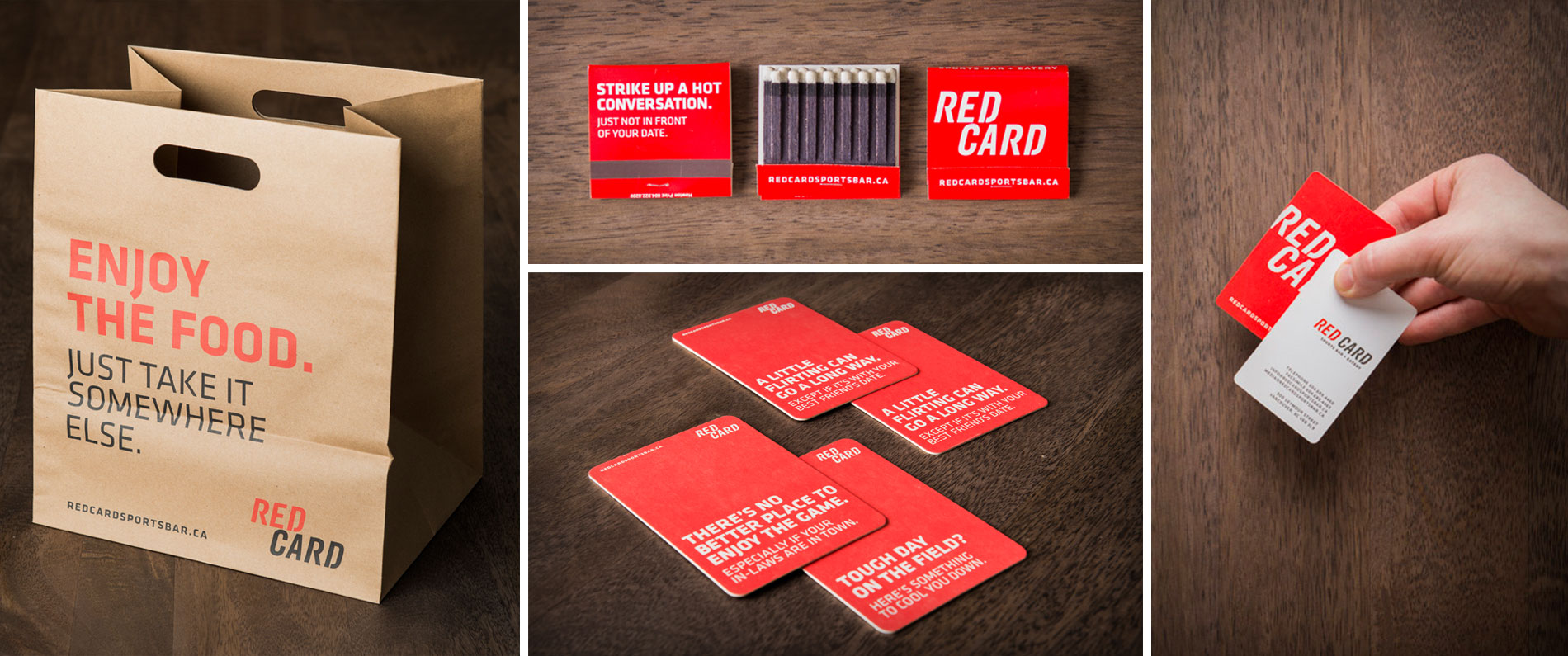 Custom matches, take out bags and coasters for Red Card