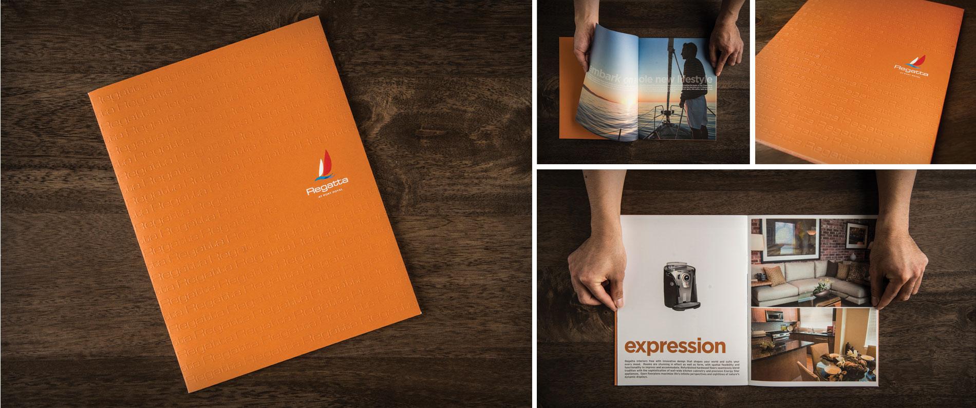 Custom printed and embossed booklet for Regatta